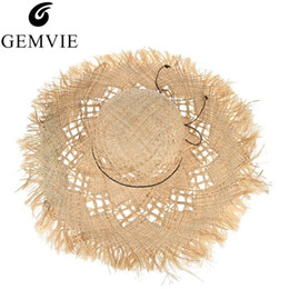 straw boater hats UK - Gemvie New Fashion Wide Brim Large Fields Straw Hats For Women Hollow Out Ladies Beach Sun Hats Fluff Floppy Summer Caps Boater Y19070503