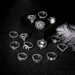 stack rings wholesale Australia - Stone Stacking Rings Crown Moon Leaf Flower Drop Midi Rings Knuckle new Designer Ring Set Women Fashion Jewelry