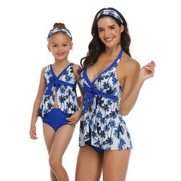 flower bikini woman NZ - Mom Daughter Sports Bikini Mother Girl Flower Swim Wear Women Kids Swimsuit Bathing Beachwear Family Match Outfits S480-1