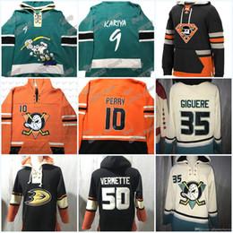 Vente en gros Anaheim Ducks Sweat à capuche 10 Corey Perry 9 Paul Kariya 17 Ryan Kesler 15 Ryan Getzlaf 50 Antoine Vermette 13 Selanne 69 Roi Jersey