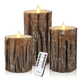remote control dance UK - Flameless Candles Flickering Candles Decorative Battery Flameless Candle Classic Real Wax Pillar With Dancing LED Flame With Remote Control