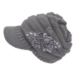 cable knit caps 2019 - Hat Women's Gray 2019 Caps Elegant Cable Knit Visor Hat With Flower Accent Caps gorro-30 discount cable knit caps