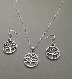 $enCountryForm.capitalKeyWord Australia - Life Tree Necklace Earrings Set Tibetan Silver Pendant Lucky Dangle Women Charms Fashion Party Friendship Gift Jewelry Accessories