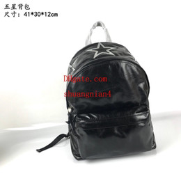 China Men's Backpack Black Silver Leather Double Carpool Five Stars Tide Fashion New off-w1320 supplier off button suppliers