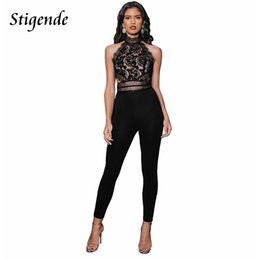 Black See Through Lace Jumpsuit Australia - Stigende Summer Sleeveless Lace Jumpsuit Women Patchwork Sexy Bodycon Jumpsuit Romper See Through Mesh Black Club Party