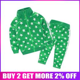 $enCountryForm.capitalKeyWord NZ - wholesale Children Clothing Sets 2pcs Coat+pants Fashion Stars baby Boy Sport Suit Kids Autumn Tracksuit for Girls Sport Suit