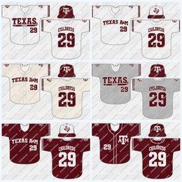 Costurado Texas AM, Texas Aggies NCAA Camisolas De Beisebol Da Faculdade 100% Bordado Costurado Logos Jersey Para A Juventude Das Mulheres Dos Homens de Alta Quailty em Promoção