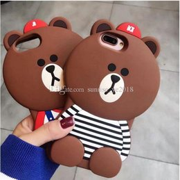 $enCountryForm.capitalKeyWord Australia - 3D cowboy bear case Cartoon animals Cute Toy 3D stripe brown bear silicone case For iphone x 6 6plus 7 7plus Cell phone case