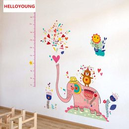 $enCountryForm.capitalKeyWord Australia - DIY Wall Sticker Elephants Spray Wallpapers Art Mural Waterproof BaBy Room Measuring Height Wall Stickers Home Decor