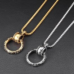 $enCountryForm.capitalKeyWord NZ - Fashion Men Circle Stainless Steel Pendant Necklace Snake Chains Long 60cm Simple Punk Mens Silver Gold Color Jewelry For Men