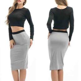 $enCountryForm.capitalKeyWord UK - Crop Top Skirt Set Women 2 Piece Black Tops Grey Skirts Bodycon Suit Set Ladies Summer Sexy