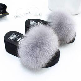 $enCountryForm.capitalKeyWord Australia - 1Women New Fur Slides Women's Real Fox Fur Slippers Shoes Beach Flip Flops Flat Fluffy Fur Slides Retail Wholesale Drop Shipping