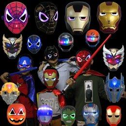 Adult Captain America Mask UK - LED Glowing Light Mask hero SpiderMan Captain America Hulk Iron Man Mask For Kids Adults Christmas Halloween Birthday LED mask