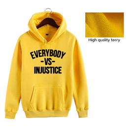 Wholesale women s vs hoodie for sale – custom 2020 New Fashion Full Sleeve Letter EVERYBODY VS INJUSTICE Printed Hoodies Sweatshirt Men Women Unisex Tops