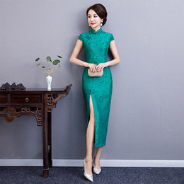 Discount short wedding dresses plus size women - Charming Retro Women Lace Short Sleeve Audrey Cheongsam Chinese Traditional Wedding Dress High-slit Long Qipao Plus Size