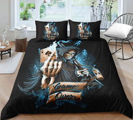 3d duvets red roses king size NZ - Popular Poker Game Bedding Sets Skull King Size Duvet Cover 3D Queen Twin Full Single Double Scary Image Print Bed Cover with Pillowcase