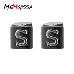 $enCountryForm.capitalKeyWord Australia - MeMolissa Stereo Relief Double-layer Block Letter S Cufflinks Black Plated Cuff Links for mens gemelos bouton manchette