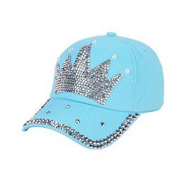rhinestone crown hats 2019 - Women Hat Crown Faux Pearl Rhinestone Baseball Cap  Snapback Outdoor Sun 29ed60903bf5