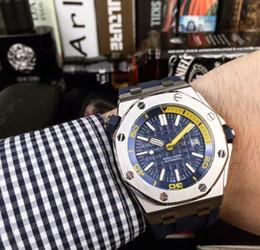 $enCountryForm.capitalKeyWord Canada - Luxury fashion Classic Rubber Strap High Quality Automatic Wristwatch 43MM Stainless Steel case men Watch(blue,yellow,green,orange)