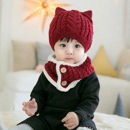twist scarves UK - Solid Color Hats Cute Caps Autumn And Winter Twist Wool Hat Scarf Set For Kids And Child Apparel Clothing Accessories
