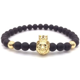 $enCountryForm.capitalKeyWord Australia - 2019 Fashion New 6mm Beads Lion Head Men Bracelets Simple Classic Beads Charm Bracelets & Bangles For Men Jewelry Gift