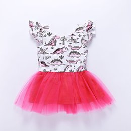 Mini aMerican girl clothes online shopping - 2019 Summer Baby girl clothes Toddler Tutu Dress Cartoon Dinosaur Flutter Sleeve Cotton Pink Girl Gift Boutique M Y