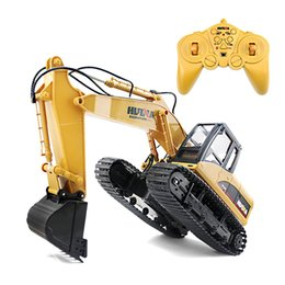 excavators toys Australia - HUINA 1550 1:14 2.4GHz 15CH RC Alloy Excavator RTR with Independent Arms Programming Auto Demonstration Function Car Vehicle Toy