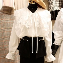 $enCountryForm.capitalKeyWord NZ - Korean Spring Lace Patchwork Women White Shirts Femme Long Sleeve Peter Pan Collar Casual Blouses Female Tops Ladies Clothing