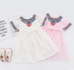 Lace Pleated Australia - 2019 New Girls summer dresses kids floral embroidery dew shoulder princess dress children lace-up Bows belt pleated dress white pink F6775