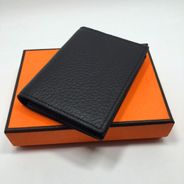 Wholesale Real Leather Credit Card Holder Wallet Business Men Bifold ID Card Case Purse New Fashion Small Money Bag Coin Pocket Colors with Box