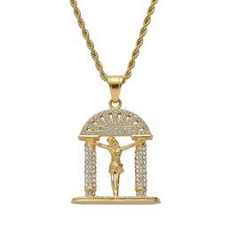 $enCountryForm.capitalKeyWord Australia - hip hop Jesus Christ diamonds pendant necklaces for men women luxury Christianity god pendants stainless steel gold religion necklace gifts