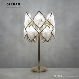 lampshade glass crystals Canada - Modern Bedroom Bedside Table Lamp Foyer Art Decoration Light Gold Color Table Lamps E14 LED Bulbs Handmade Beaded Crystal Lampshade