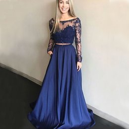$enCountryForm.capitalKeyWord Australia - 2019 Navy Blue Girls Two Piece A Line Prom Dresses Appliques Long Sleeve Evening Dresses Custom Vestido Party Gowns
