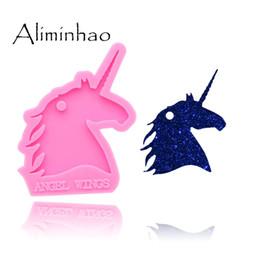DY0137 Shiny Unicorn head Silicone Molds For DIY key ring epoxy resin Mold Craft custom