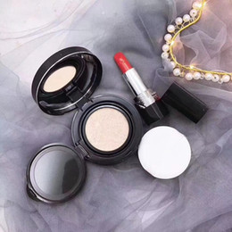 Mixing Red Purple Lipstick Australia - Hot Brand Foundation Skin Care Forever Perfect Cushion 15g + Matte Lipstick rouge a levre Lip Gloss 2 In 1 Makeup Set