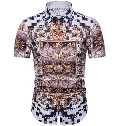 $enCountryForm.capitalKeyWord Australia - 2019 New Men's Dress Shirts Fashion Harajuku Casual Shirt Men Black Gold Fancy Print Slim Fit Shirts