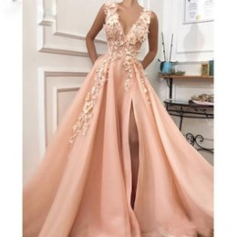 Nude bead cocktail dress online shopping - 2019 Sexy Pink A line Side Split Prom Dress Deep V neck with D Flower Bead Evening Party Gowns Draped Tiered Skirt Evening Cocktail Gowns