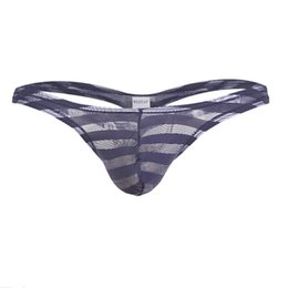 b7de4b1b8bd7 New Men Briefs Penis Pouch Underwear Bulge Underwear Gay Sexy Briefs Low  Waist Transparent Striped Men Sunny Boy Thongs