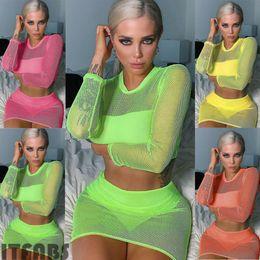 $enCountryForm.capitalKeyWord Australia - Women 2 Piece Bodycon Two Piece Crop Top+Skirt Set Mesh Dress Party Clubwear USA