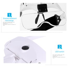 Wholesale 3.5X Adjustable Rechargeable Headband Eyeglass Magnifier with 2 LED Lights   USB Cable   5 Lens for Reading   Drawing MAG_00G
