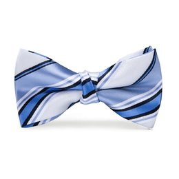 7500ed34b764 Hi-Tie Fashion Men Boys Children Students adjustable Cotton Bowtie Blue  White Butterfly Bow Tie Holiday Prom Birthday Party Gift Accessories