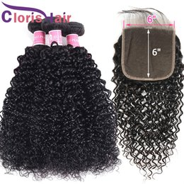 Discount cheap bundles curly hair closure - Raw Virgin Indian Human Hair Bundles With Closure Kinky Curly 6x6 Lace Closure With Hair Extensions Cheap Curly Weave 3