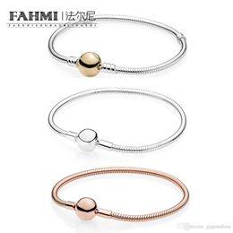 FAHMI 100% 925 Sterling Silber Classic Basic ROSE MOMENTS GLATTE ARMBAND 14K Gold Classic Kette Armband Fit DIY Perlen Charme