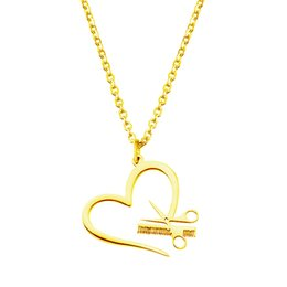 Wholesale Comb Scissor Pendants Australia - Scissors Comb Pendant Necklace Heart-shaped Stainless Steel Silver Gold Lover Link Chain For Women Gift Charm Jewelry -P
