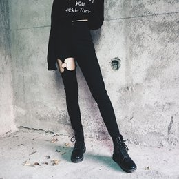 $enCountryForm.capitalKeyWord Australia - Punk Fashion Gothic Pants Women Pants Hollow Out Right Leg Ring High Waist Thin Stretch Fabrics Pencil Pants Female
