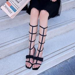 $enCountryForm.capitalKeyWord Australia - 2019 Chic Women Boots Square Toe Women Gladiator Belt Buckle Design Summer Long Booties Back Zipper Narrow Band Shoes Lady Hot
