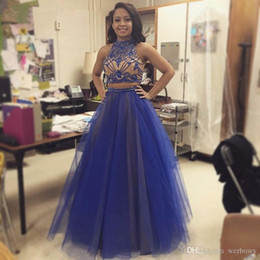 Discount high collar formal evening dresses - Custom Made New Two Pieces Prom Dresses Champagne Sexy High Beaded Collar Crystal Bodice Long Tulle Formal Evening Party