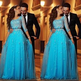 cheap scalloped lace Canada - Aso Ebi Style Ocean Blue Arabic Evening Dresses Scoop Half Sleeves Lace Applique A-line Tulle Prom Dress Vintage Cheap 2019 Party Gowns