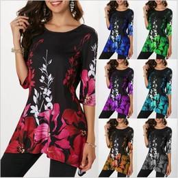 $enCountryForm.capitalKeyWord NZ - 5XL Women Vintage Floral Print T Shirt Top 2019 Spring Summer Big Size Casual Tops Women Retro T Shirts Plus Size Clothing