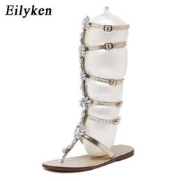 $enCountryForm.capitalKeyWord NZ - Eilyken Summer Flats Sandal Gladiator Gold Rhinestone Knee High Buckle Strap Womans Boot Bohemia Style Crystal Beach Shoe